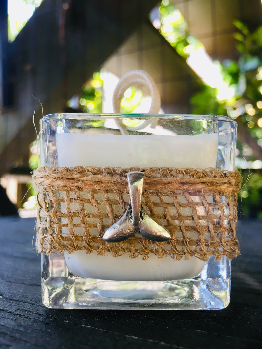 Whale Tail Charm ~ Coconut Soy Wax Square Votive Candle