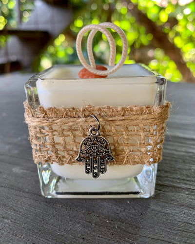 Charmed Hamsa ~ Coconut Soy Wax Square Votive