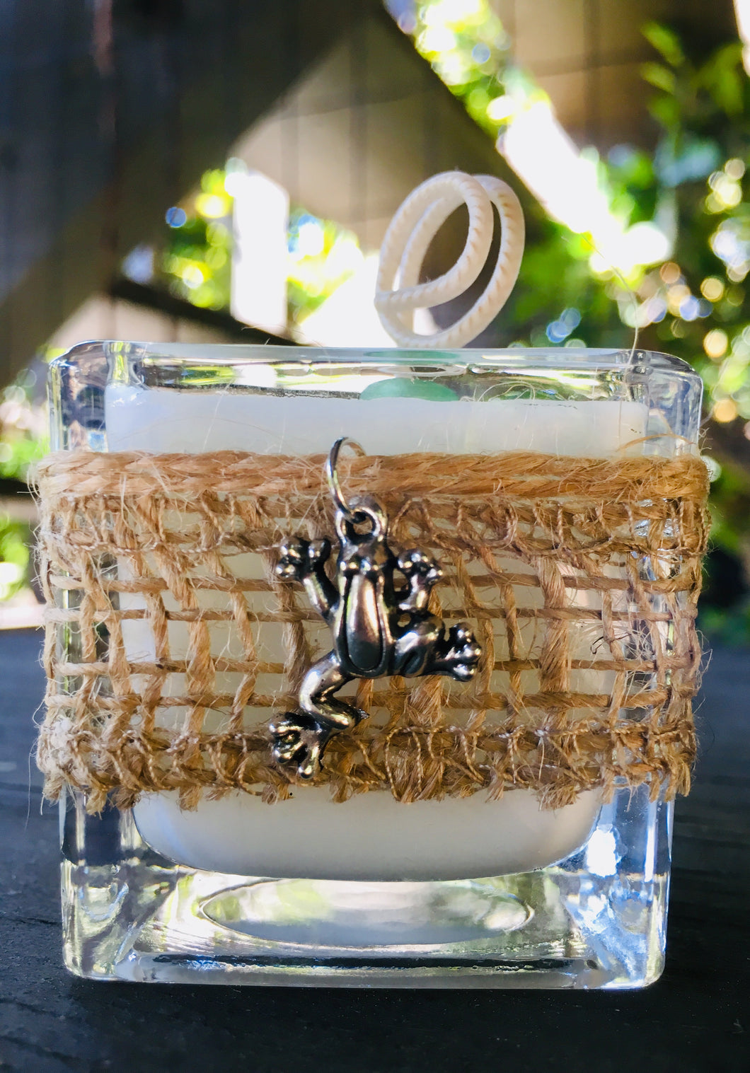 Frog Charm Design ~ Coconut Soy Wax Square Votive Candle