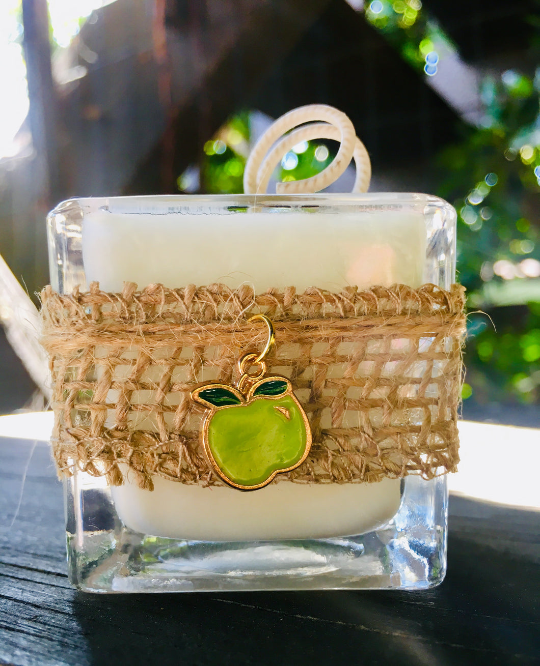 Apple (Green) Charm Design ~ Coconut Soy Square Votive Candle