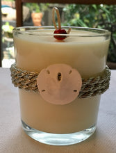 Nautical Silver Sisal & Sand Dolar Design ~ Coconut Soy Wax Round Candle