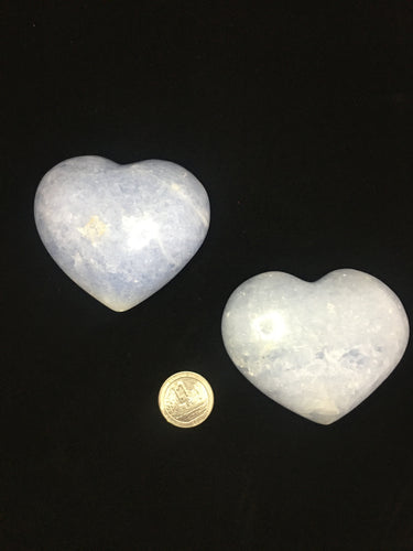 Blue Calcite XL Heart Palm Stone