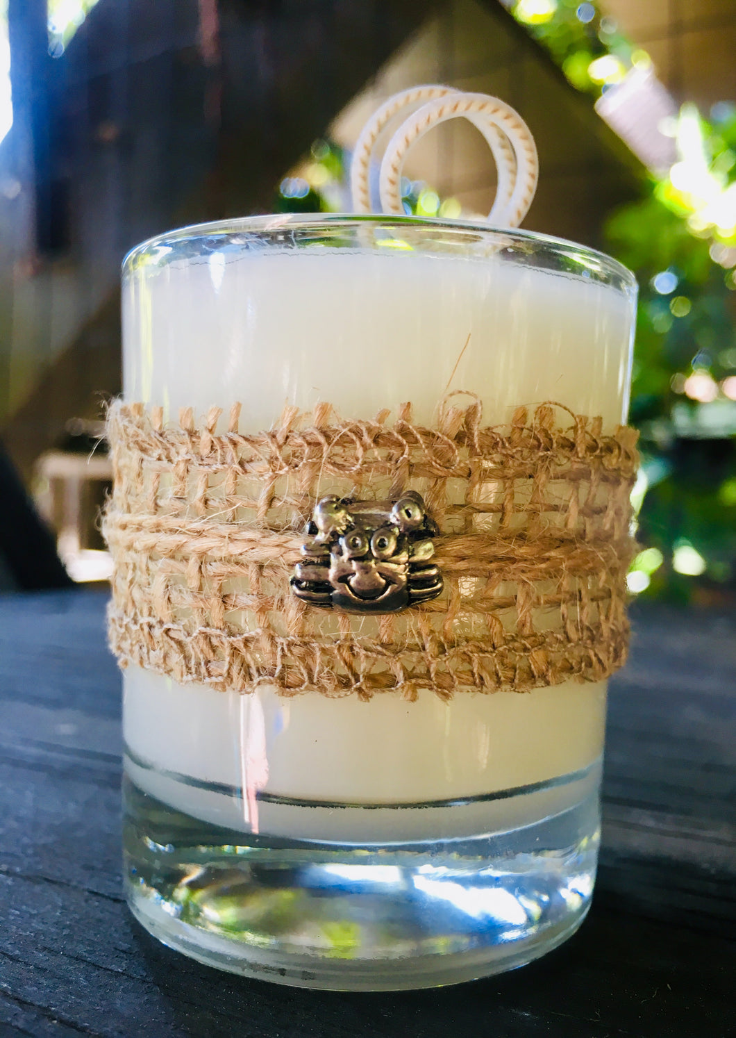 Crab Charm Design ~ Coconut Soy Wax Round Votive Candle