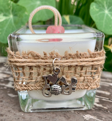 I Love Golf Charm ~ Coconut Soy Wax Votive Square Candle