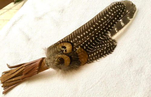 Feather Smudge Wand adorned with Leather