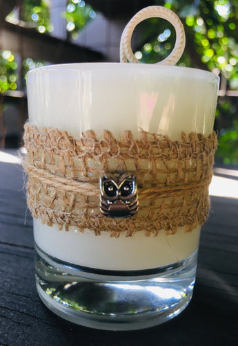 Owl Charm Design ~ Coconut Soy Wax Round Votive Candle