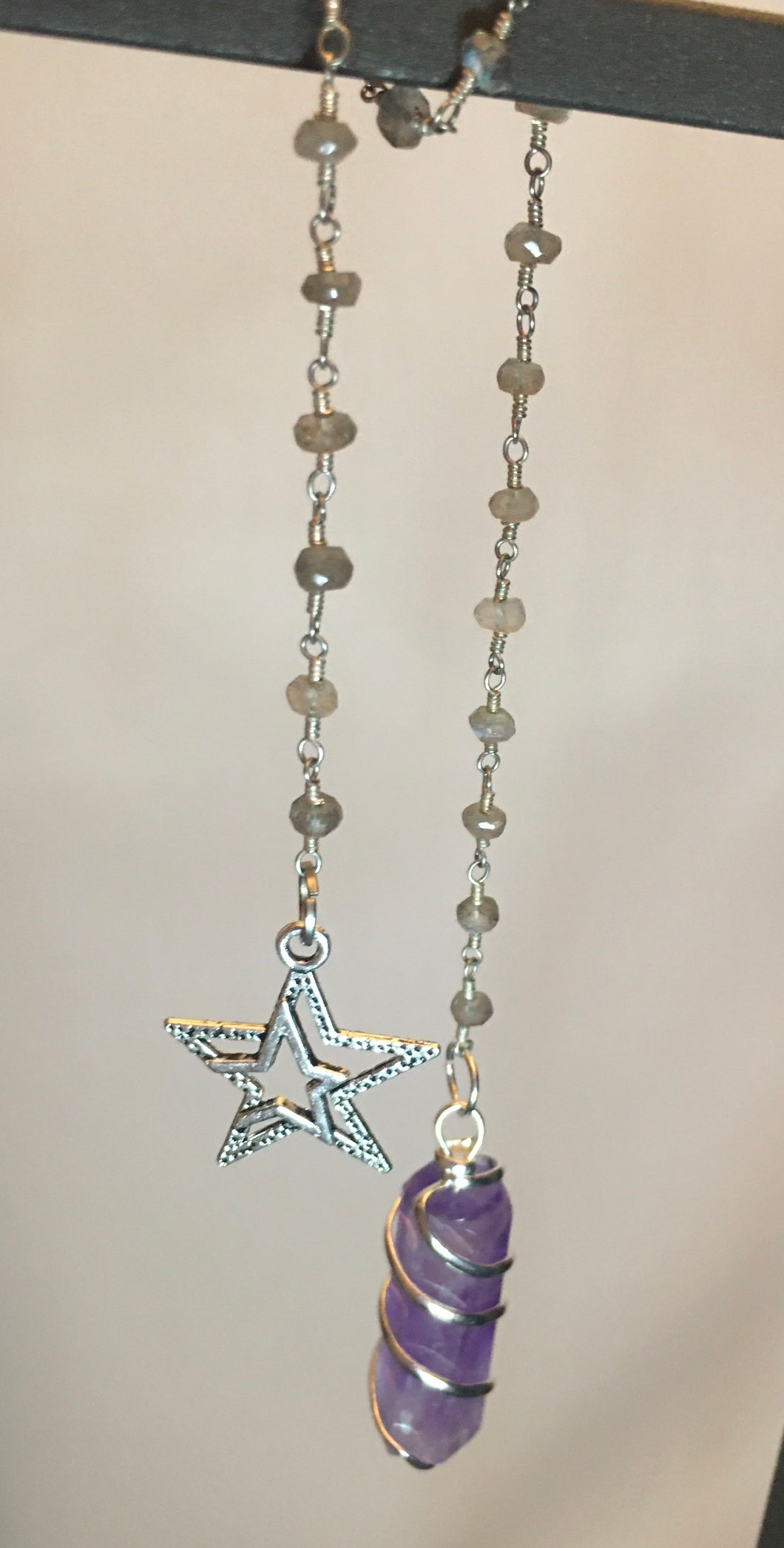 Amethyst Point on Labradorite Satelite Silver Chain & Double Star Charm Fob