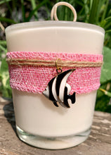 Charmed Enamel Fish Pink Burlap ~ Coconut Soy Wax Candle