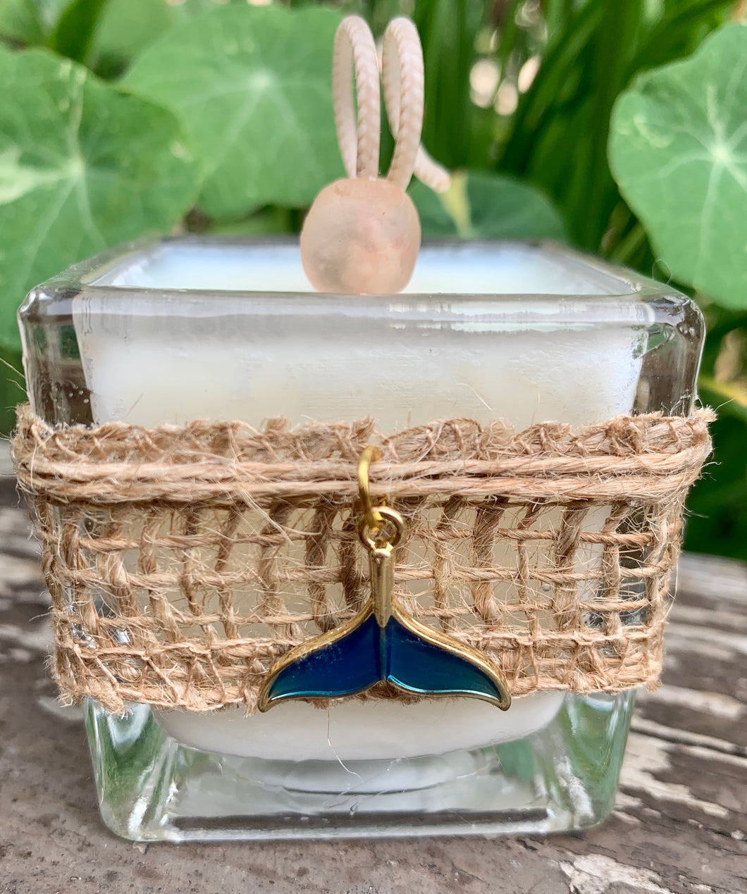 Charmed Enamel Whale Tail Gold ~ Coconut Soy Wax Votive Square Candle