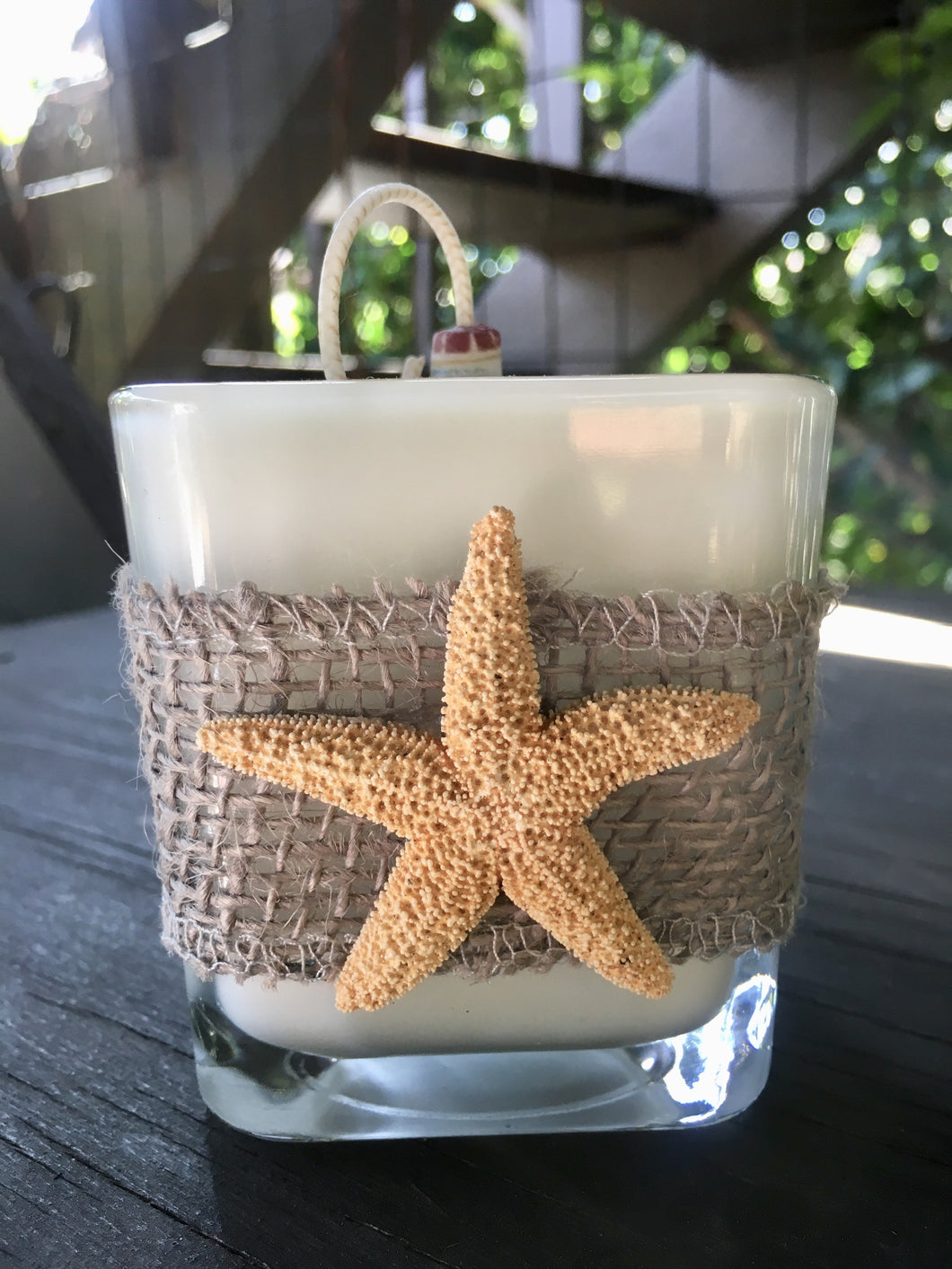 Gray Burlap & Starfish Design ~ Coconut Soy Wax Square Candle