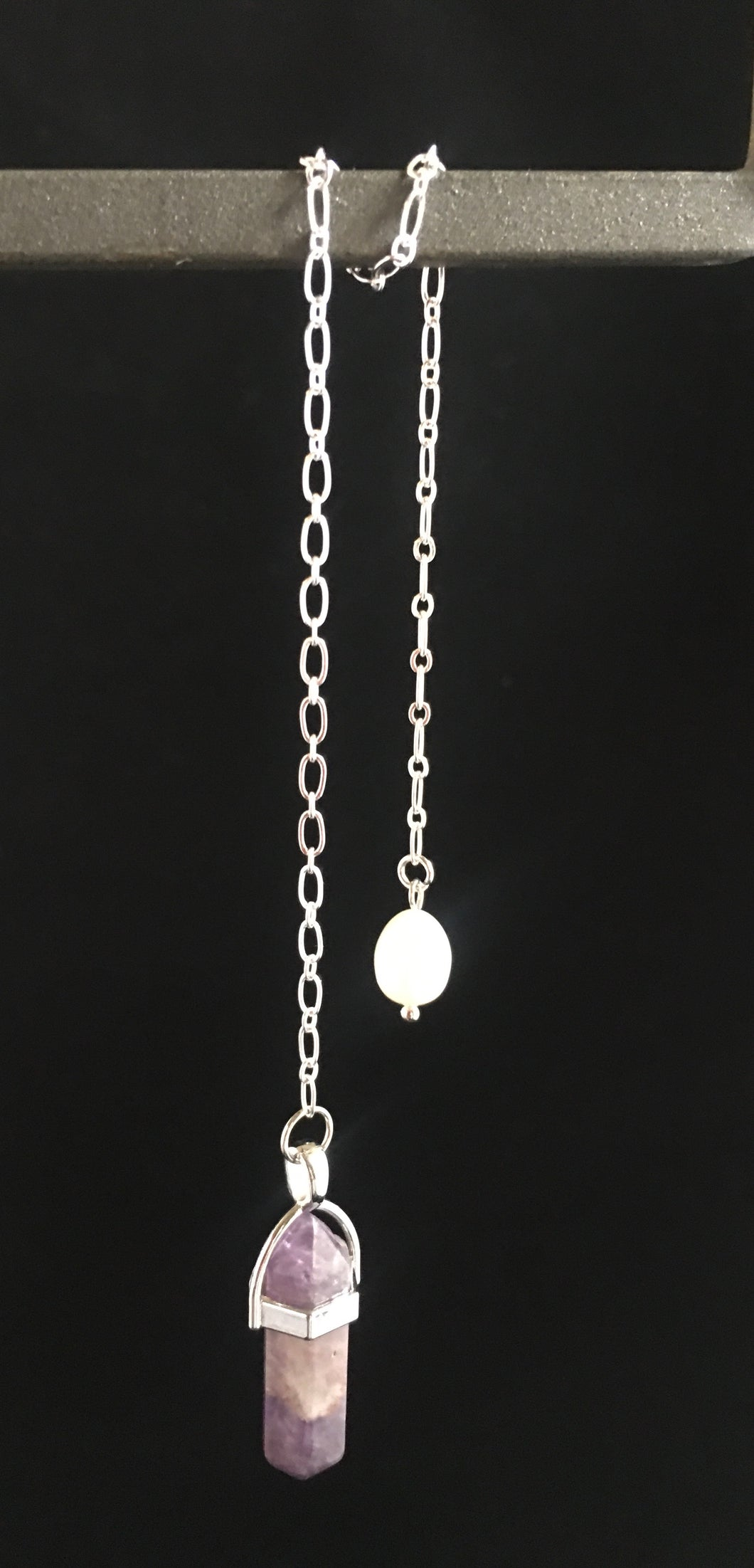 Pendulum ~ Amethyst Point on Silver Chain & Pearl Fob