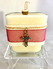 Cross Charm Holiday Coconut Soy Wax Candle ~ Large Square