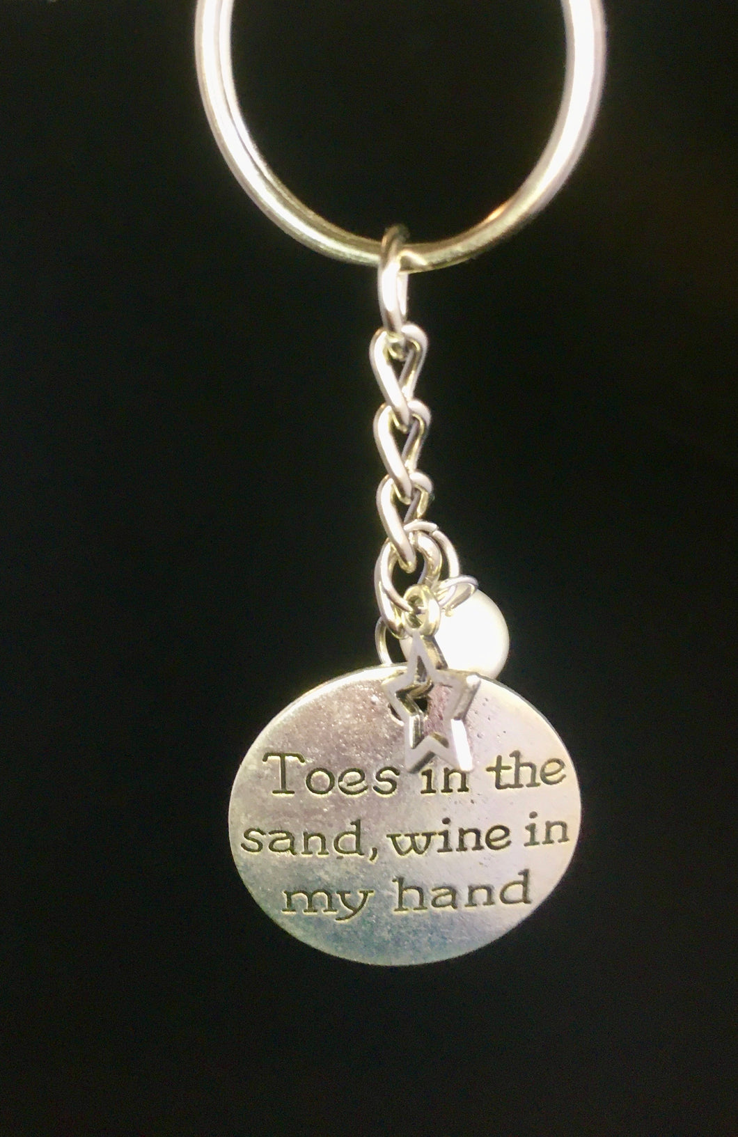 Toes in the Sand with Pearl & Star Charmed Keychain
