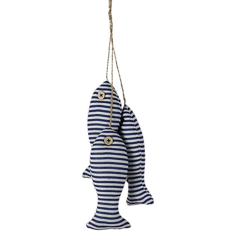 Nautical Striped Cotton Fish with Button Eyes (set of 3) on Twine