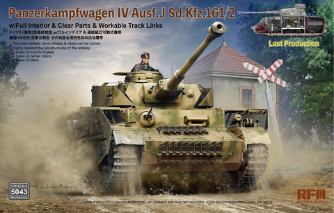 1:35 Rye Field Model Panzerkampfwagen IV Ausf.J Sd.Kfz.161/2 Last Production with Full Interior & Clear Parts & Workable Track Links