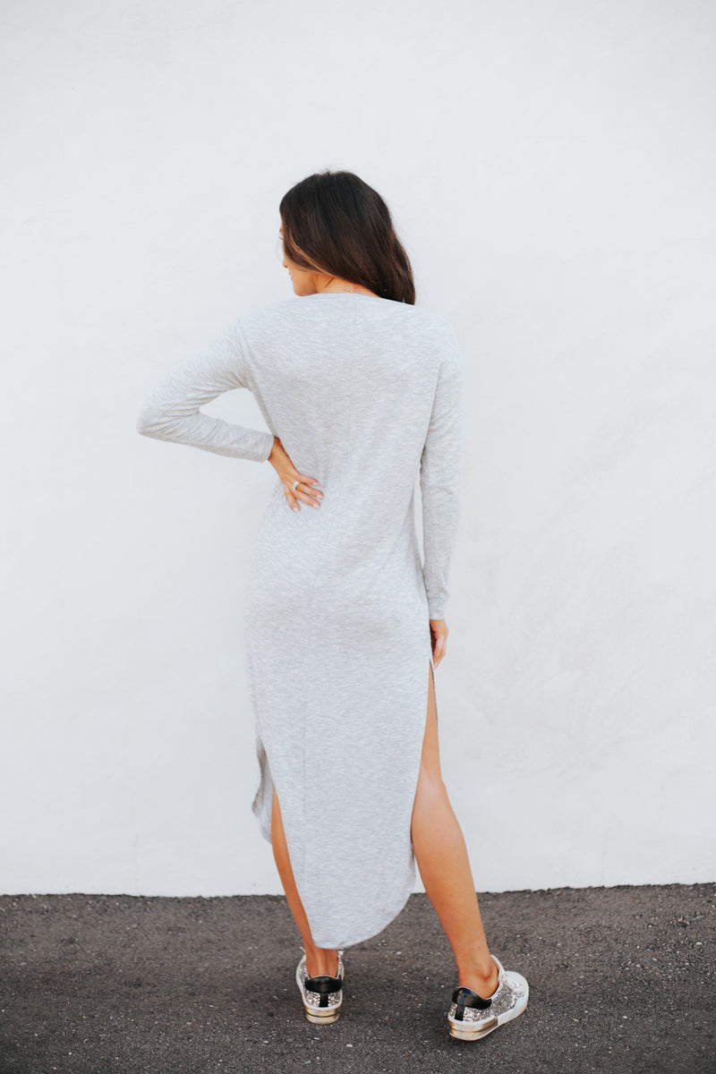 Ray Slub Sweater Dress Heather Grey
