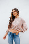 Leopard Crop Crew Top