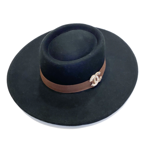 Brooch Hat- Black/Brown Suede