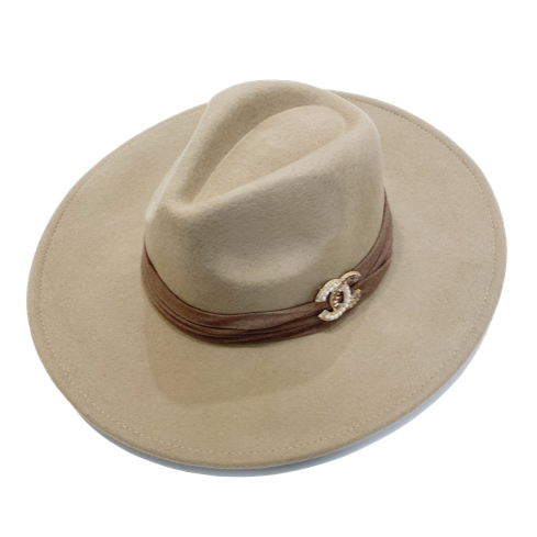 Brooch Hat- Light Tan/Brown Suede