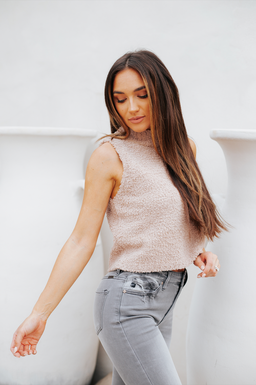 Sleeveless Knit Turtleneck Sweater Taupe