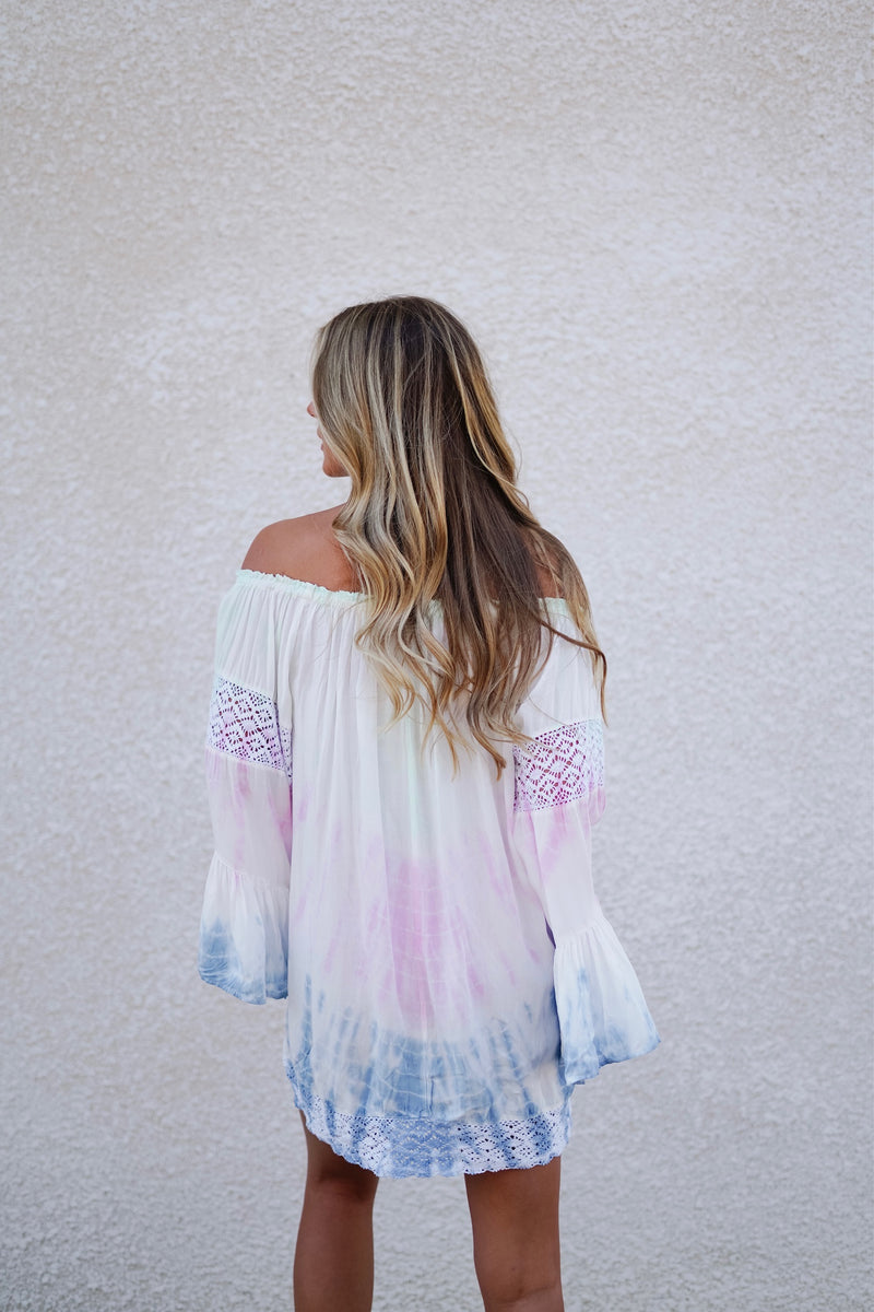 Off the Shoulder Tunic- Pink/Mint