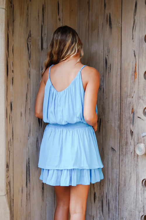 Winnie Smocked Dress - Aqua Blue