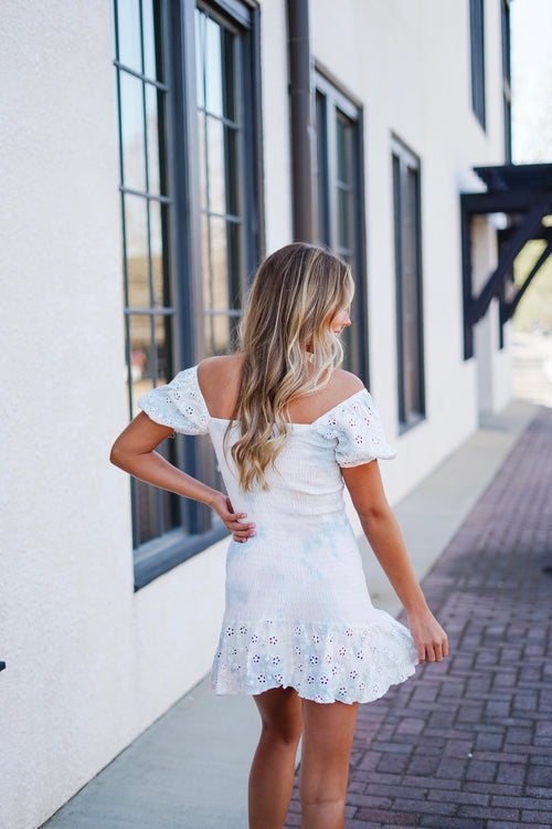 Eyelet Puff Sleeve Dress- Palm Spring