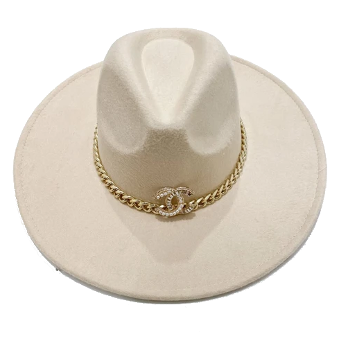 Brooch Hat- Cream/Chain