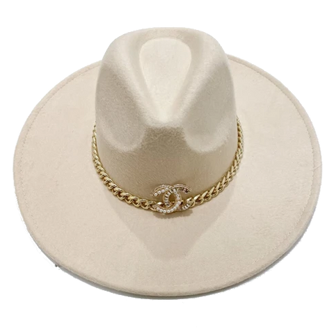 Brooch Hat- Tan/Black Leather