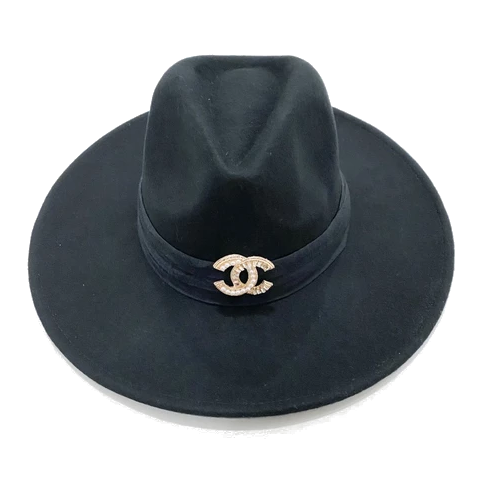 Brooch Hat- Black/Black Velvet
