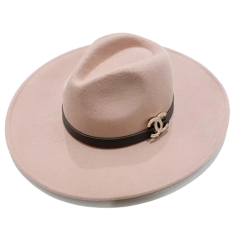 Brooch Hat- Cream/Black Leather