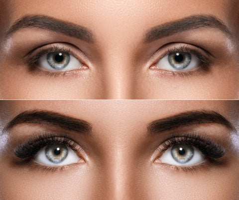 Before and after of blue-eyed woman with a new set of eyelash extensions. Cartel Lash