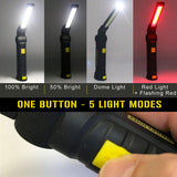 Enthusiast Gear LED COB Work Light - USB Rechargeable Flashlight with Magnetic Base 360° Rotate (2 Pack)