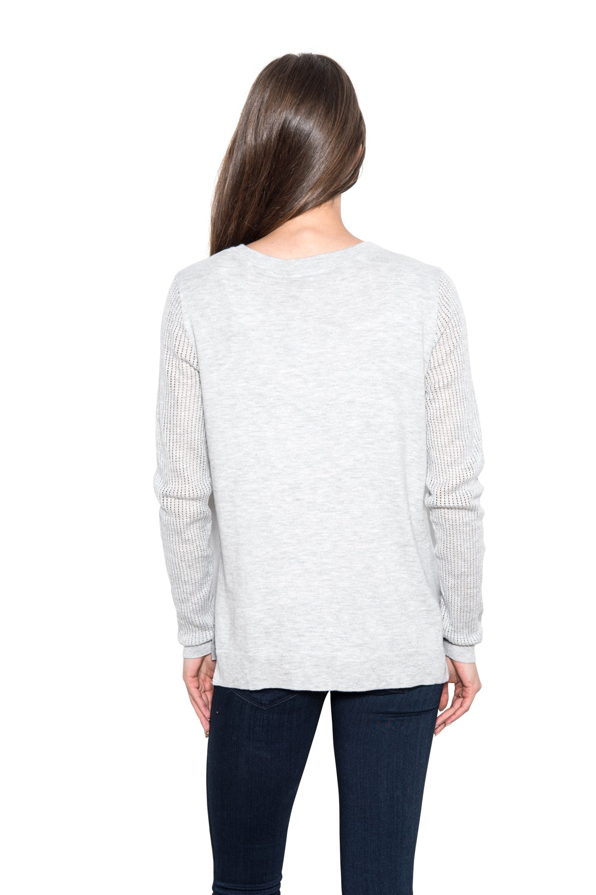 Daryn - Pointelle Sleeve Pullover [Grey]