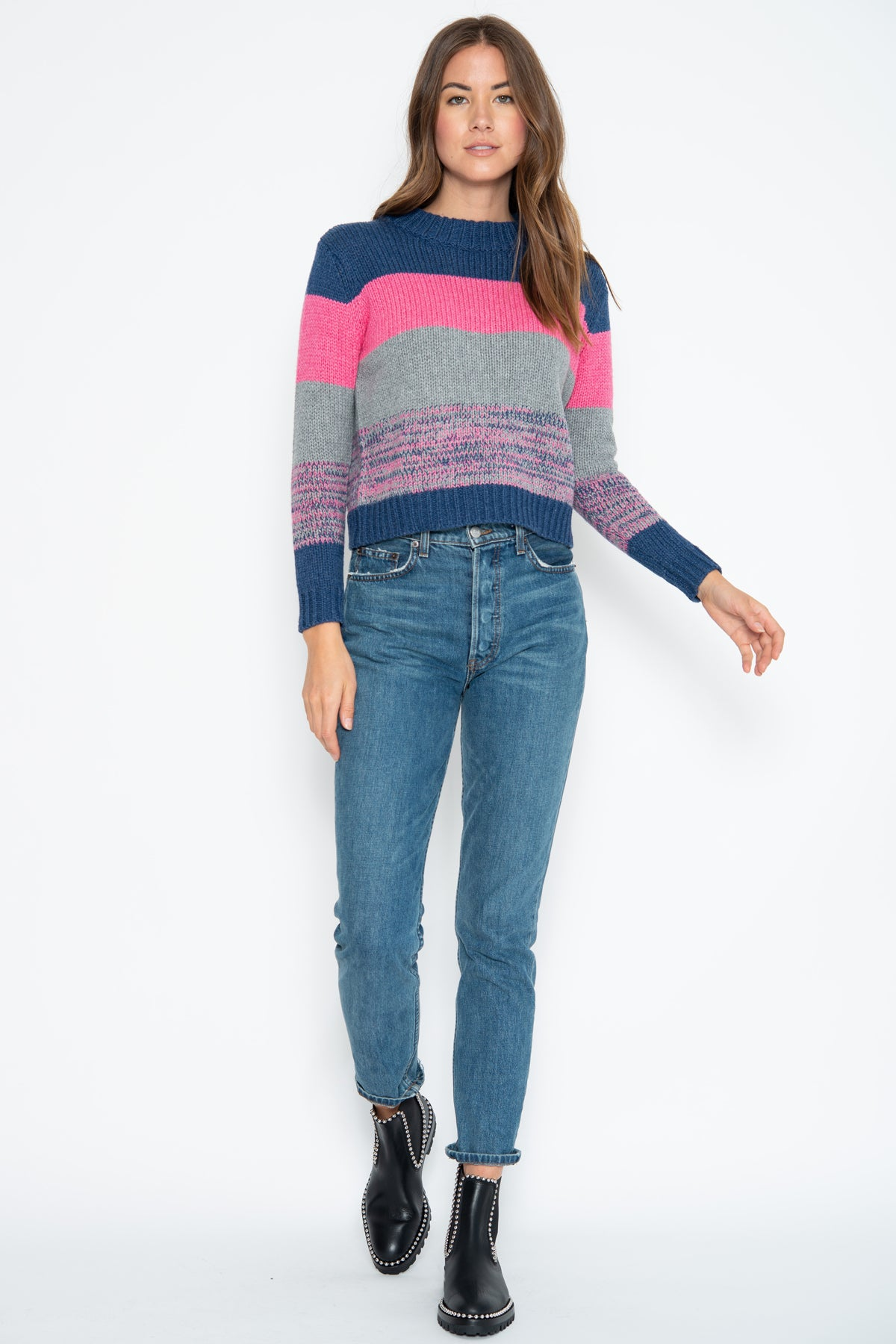 Gigi Pullover - Pink Shock/Denim Multi