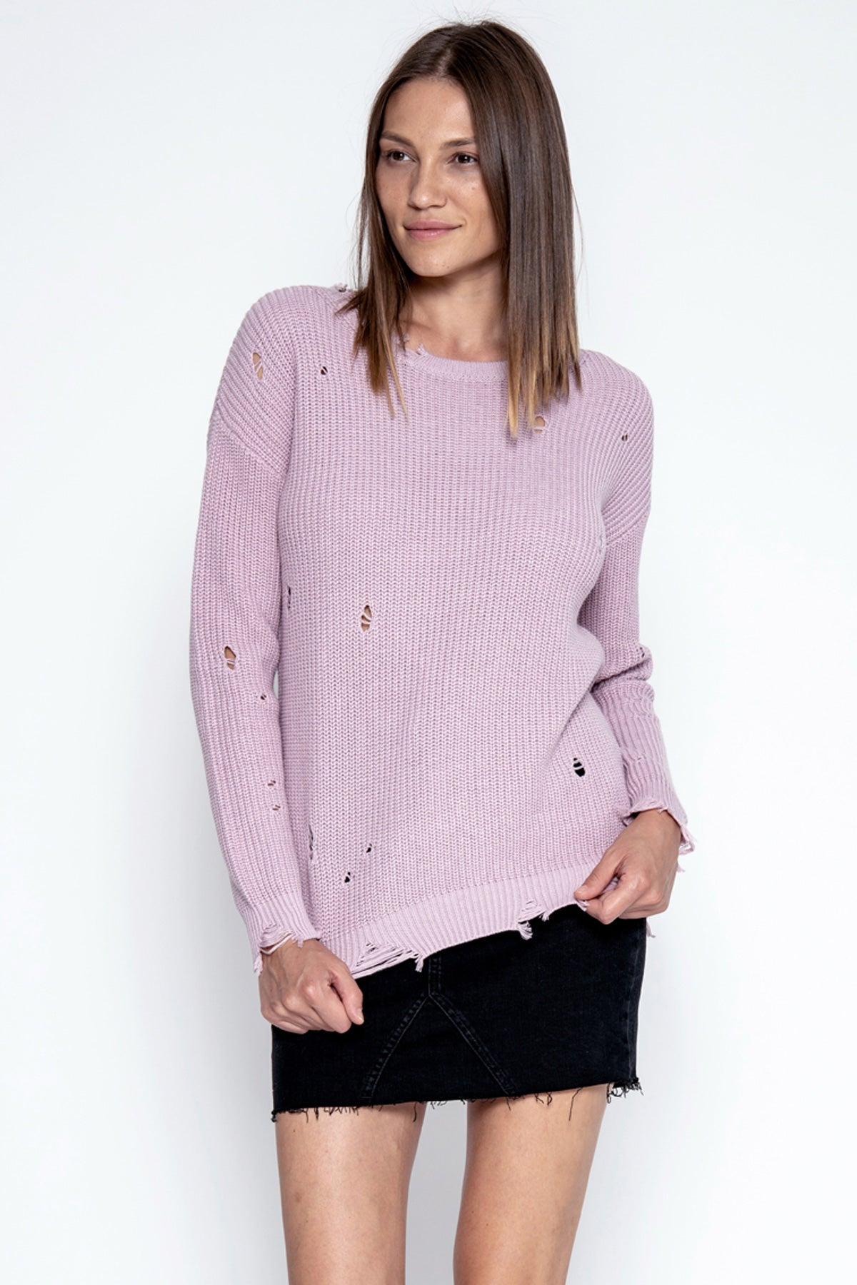 Wyatt Distressed Pullover - Mauve