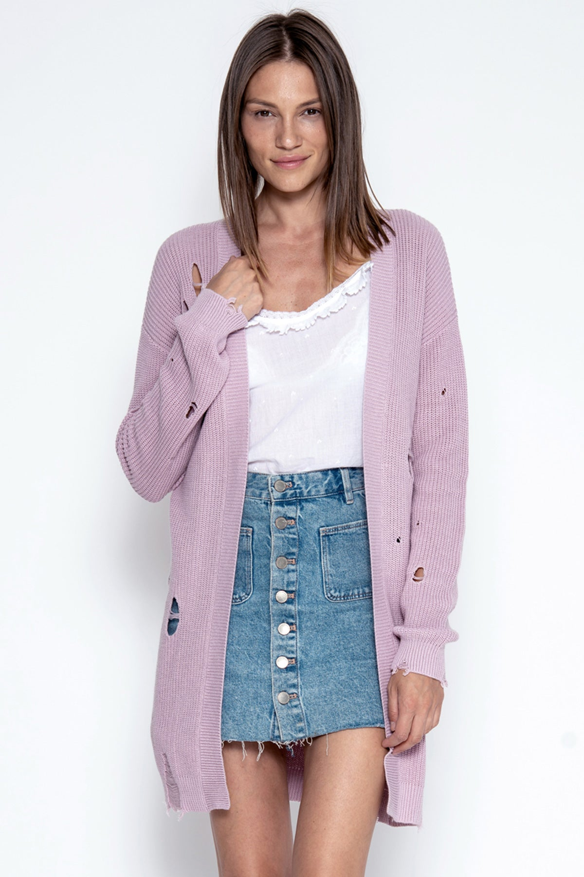 Wyatt Distressed Cardigan - Mauve