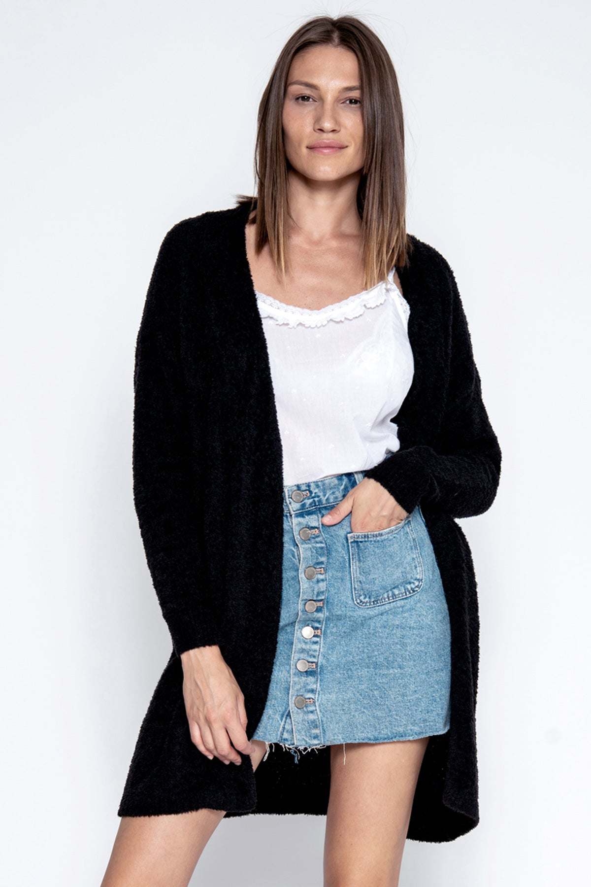 Denver Open Cardi - Black