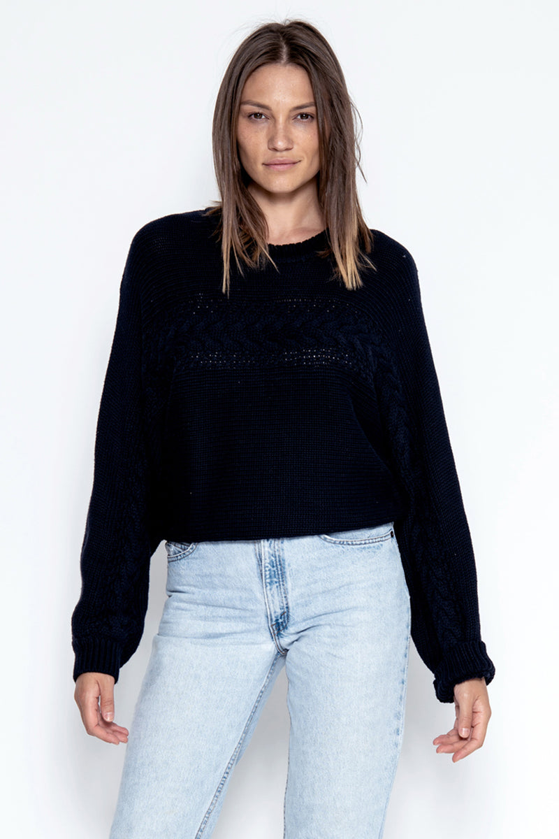 Rhys Braided Pullover - Navy