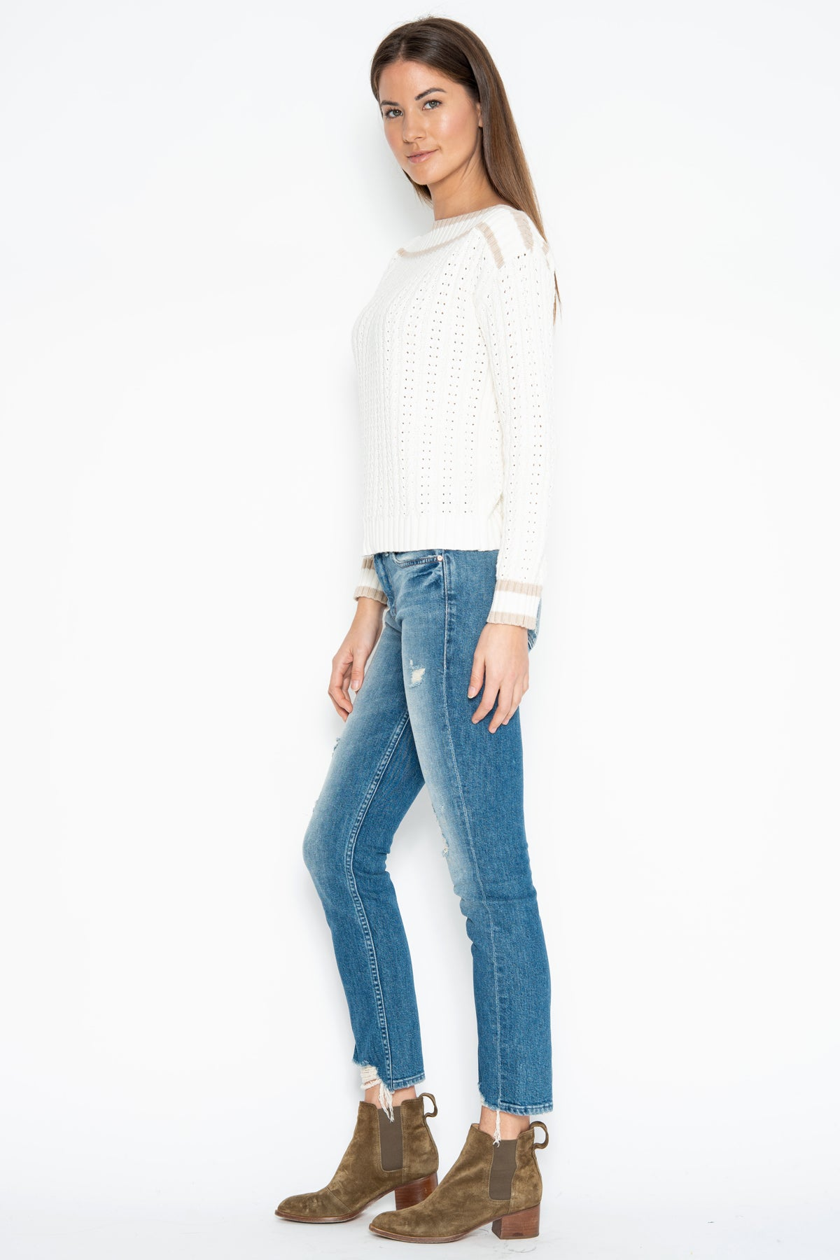 Ronnie Off-Shoulder Pullover - Starch Combo