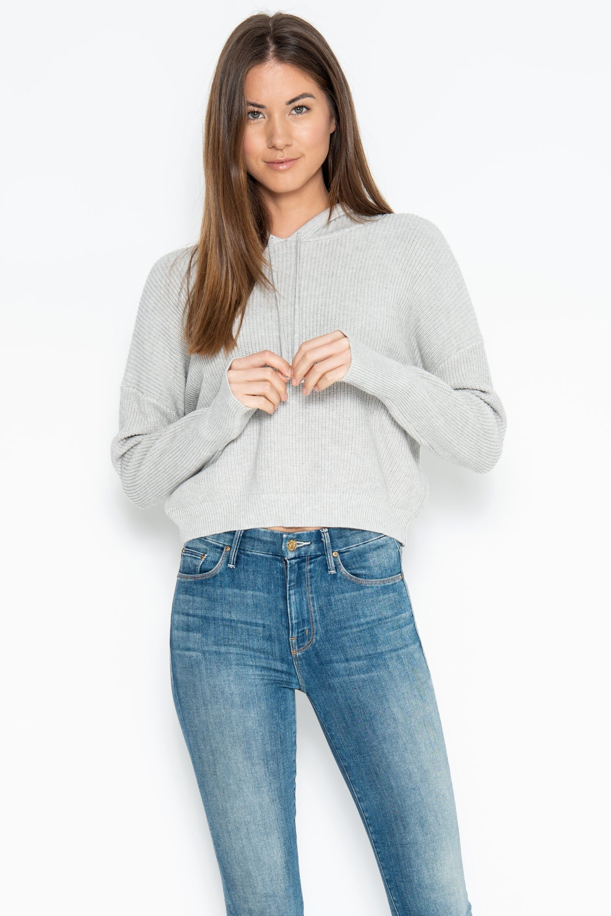 Duncan Cropped Hoodie - Heather Grey