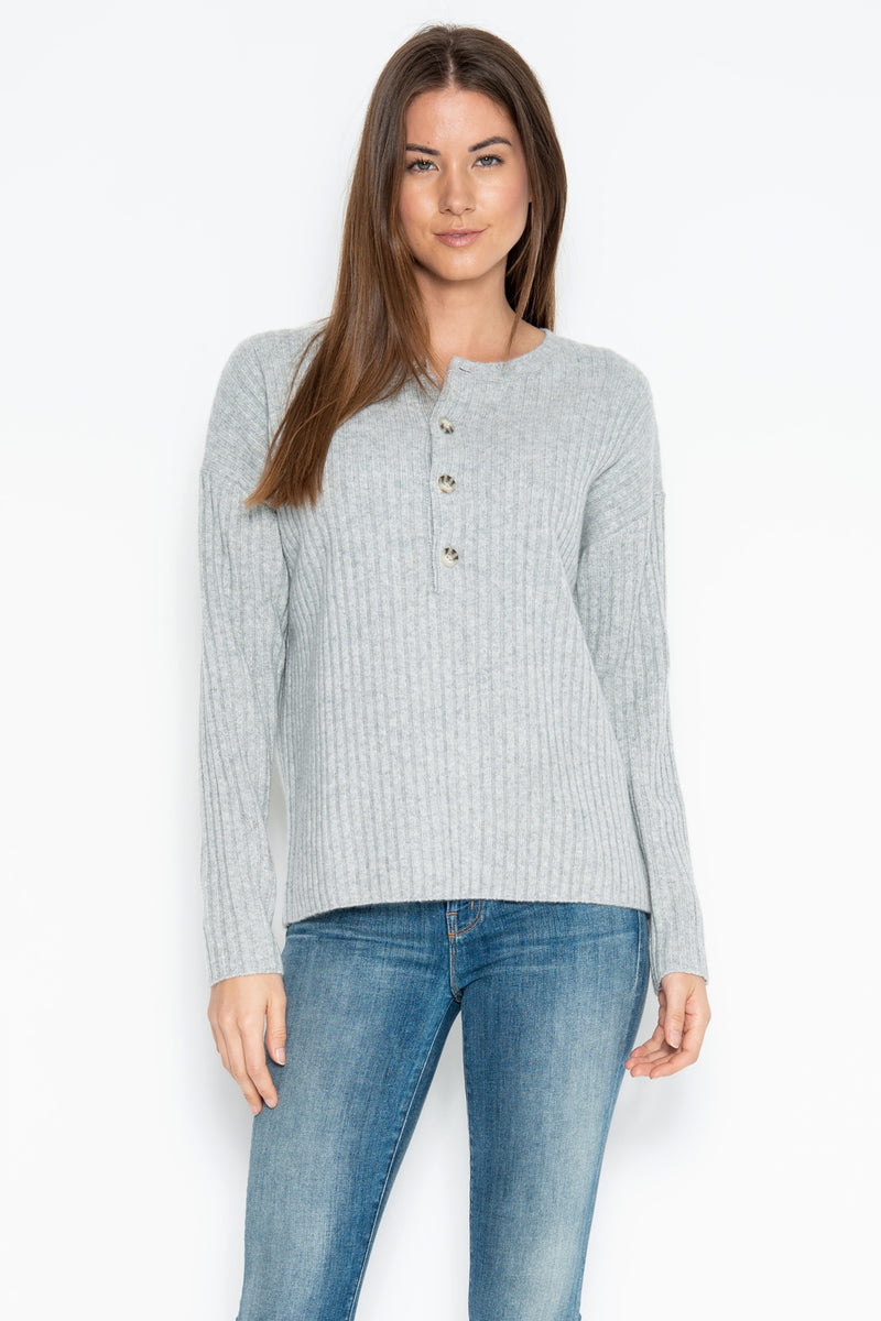 Colette Cashmere Henley - Heather Grey