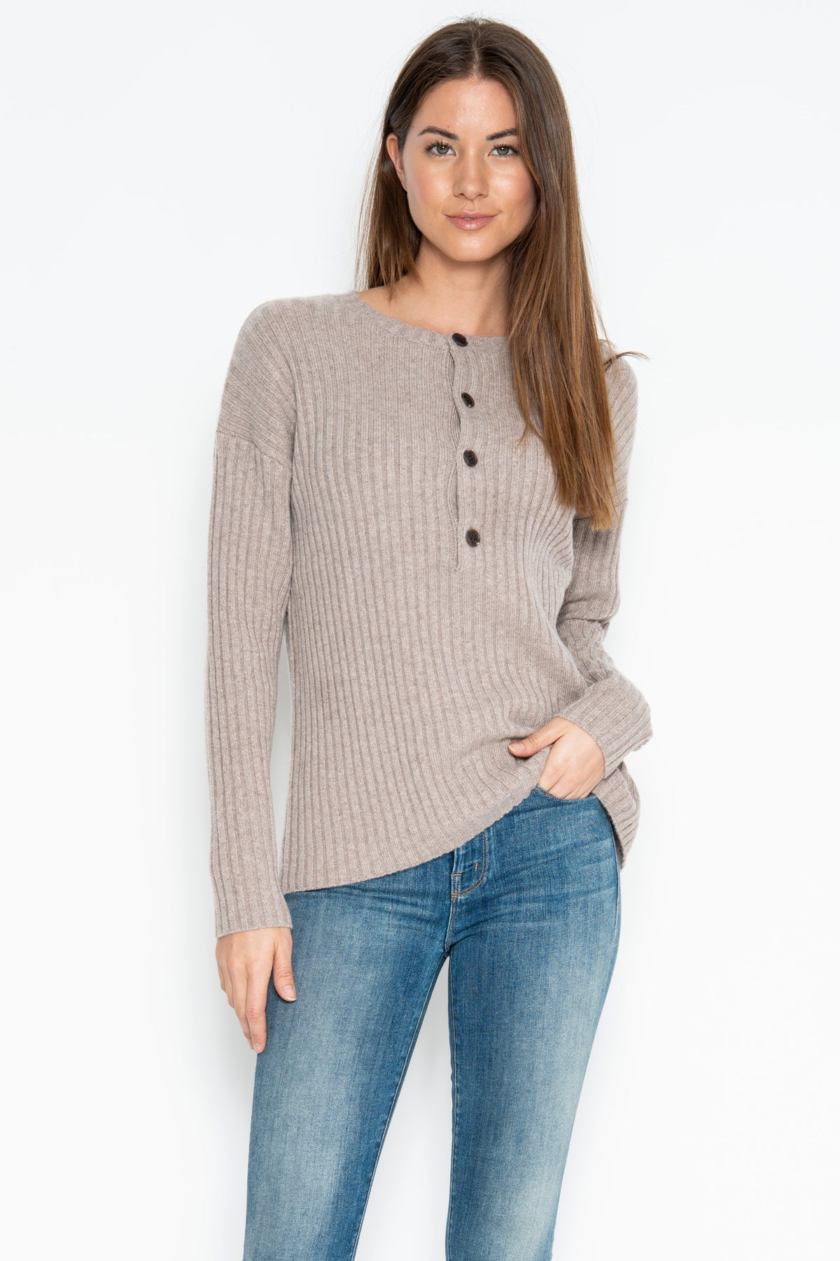 Colette Cashmere Henley - Toast