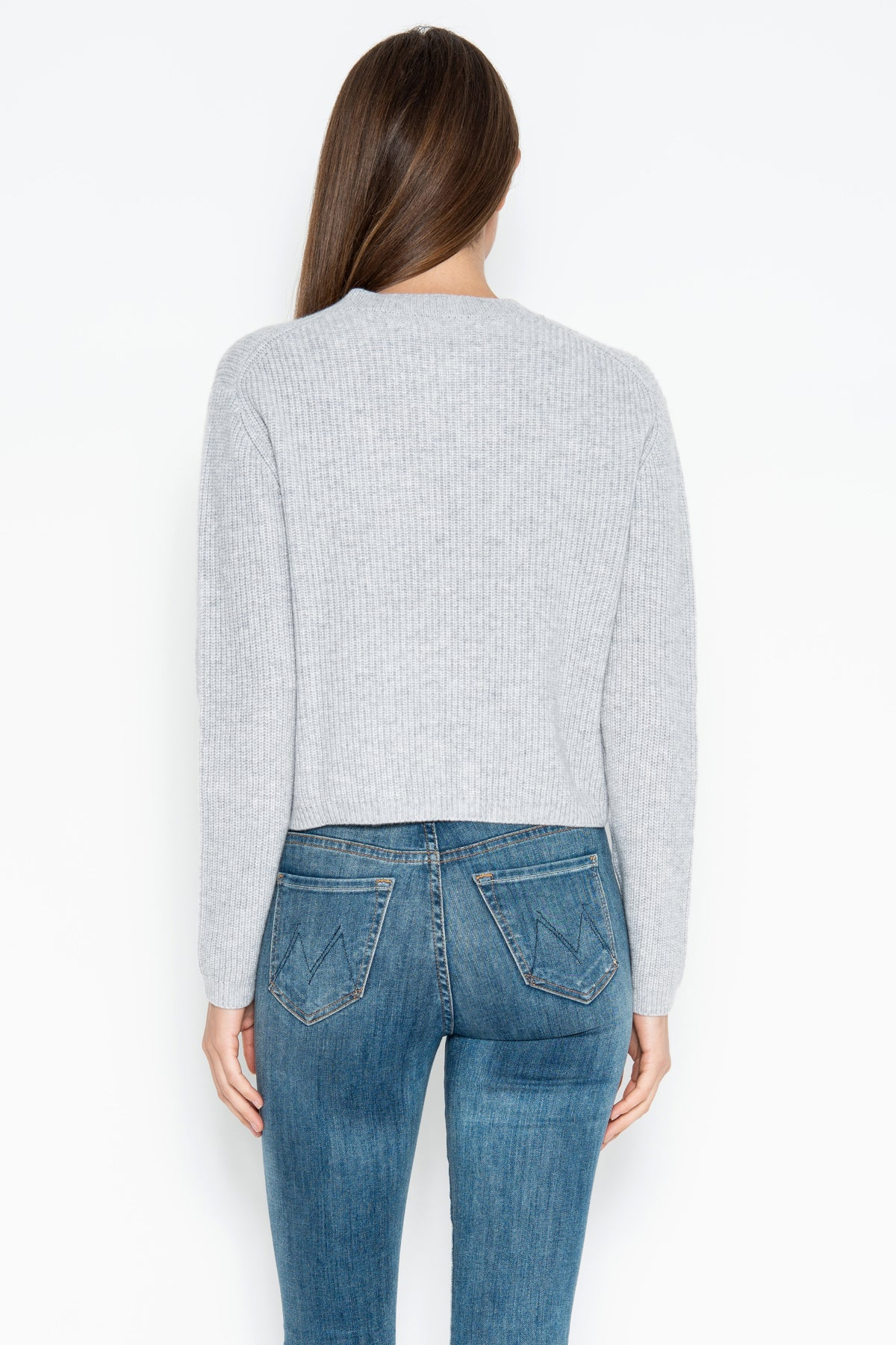 Georgia Crop Cashmere Cardi - Heather Grey
