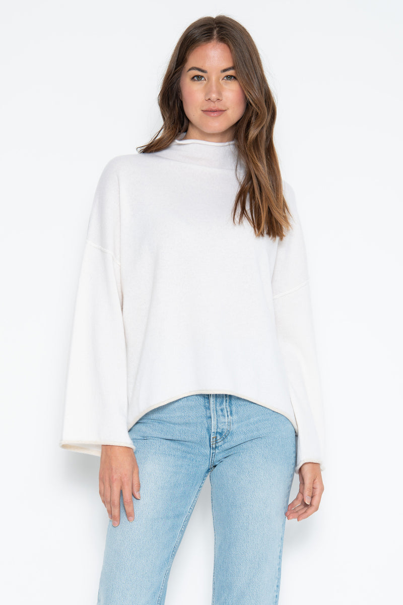 Fiona Cashmere Pullover w/ Lurex Tipping - Ivory