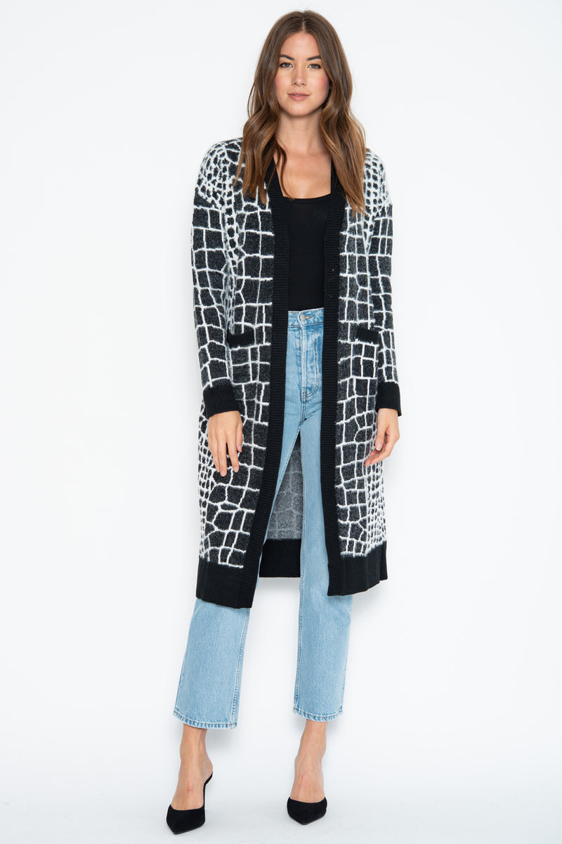 Meg Open Duster - Black Croco