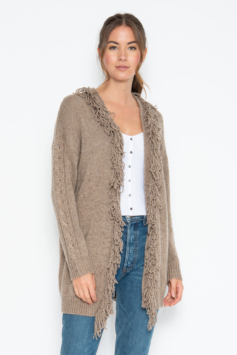 Warren Fringe Cardigan - Chestnut