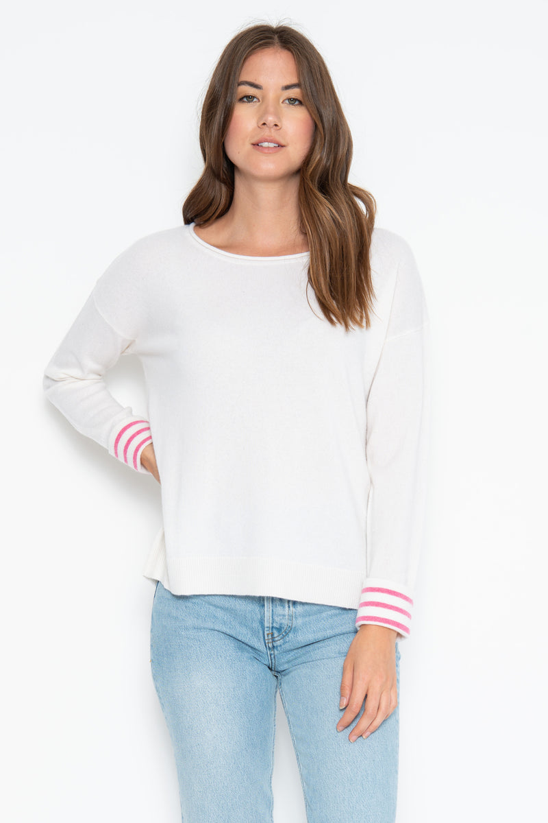 Piper Cashmere Pullover - Ivory/Pink Shock Combo