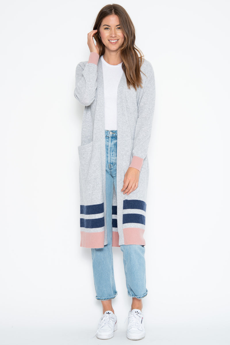 Collins Cashmere Duster - Heather Grey/Rose Combo