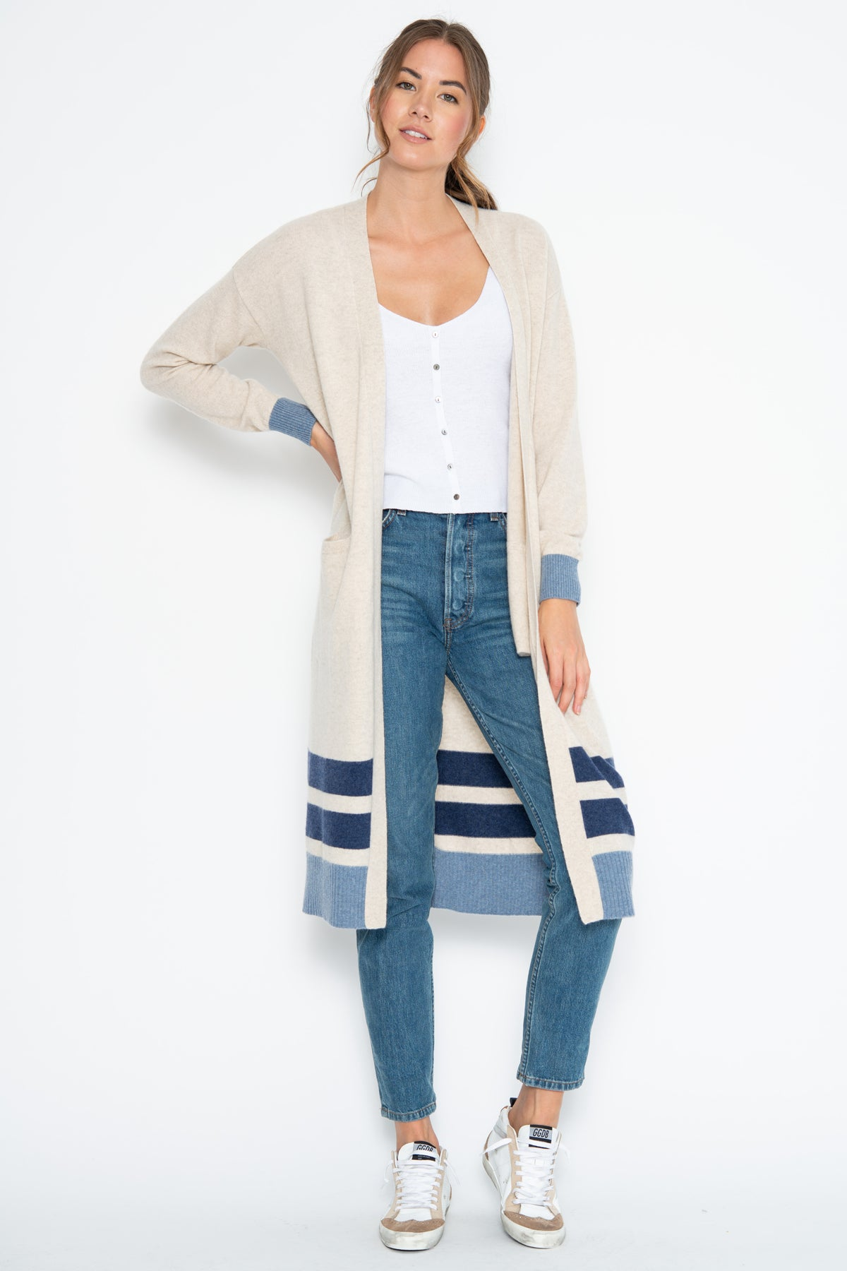 Collins Cashmere Duster - Latte/Denim Combo